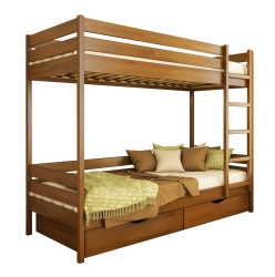 Двоярусне дитяче ліжко ДУЕТ ТМ Естелла двоxярусне, двоповерхове з драбиною, матеріал бук, основа ламелі, ящики для білизни, 8 кольорів