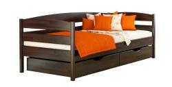 Дерев'яне ліжко НОТА ПЛЮС ТМ Естелла, дитяче односпальне, матеріал бук, основа ламелі, ящики для білизни, 8 кольорів